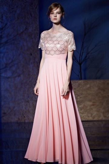Robe rose longue empire bustier effet écaille