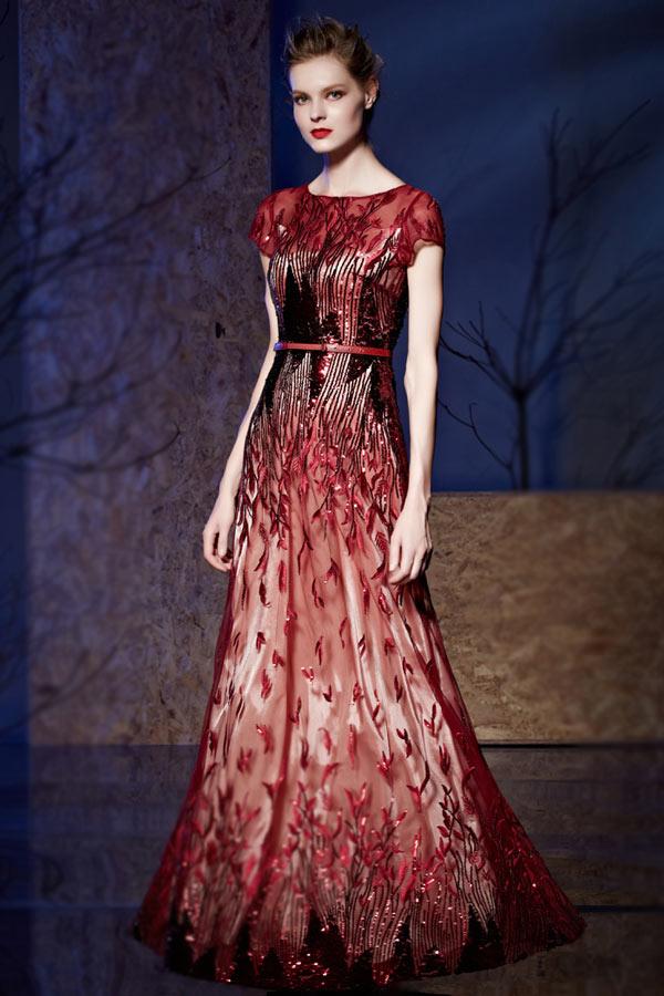Originale robe sequin longue florale à mancherons