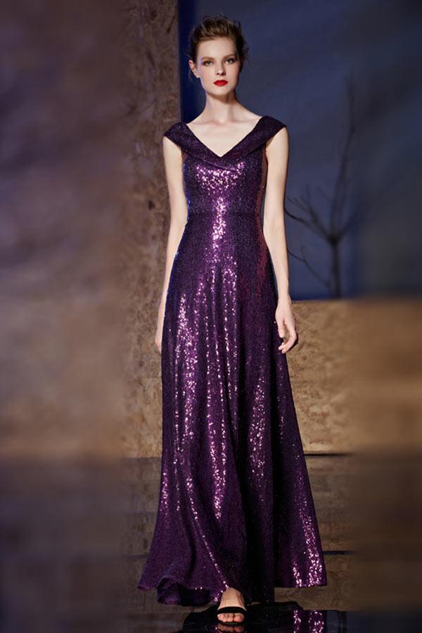 robe de soirée longue violette col v en paillettes