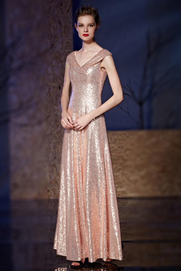 robe demoiselle d'honneur rose doré col v effet cache coeur en paillettes