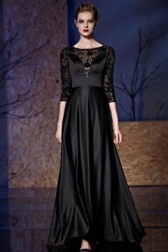Robe longue noire top transparent à manche trois quart
