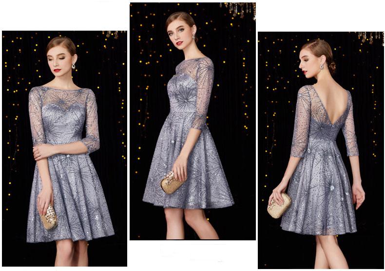 robe bal courte argentée à paillettes avec manches à dos échancré