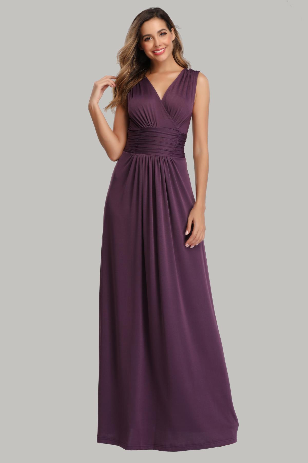 robe de soirée grande taille violette col v