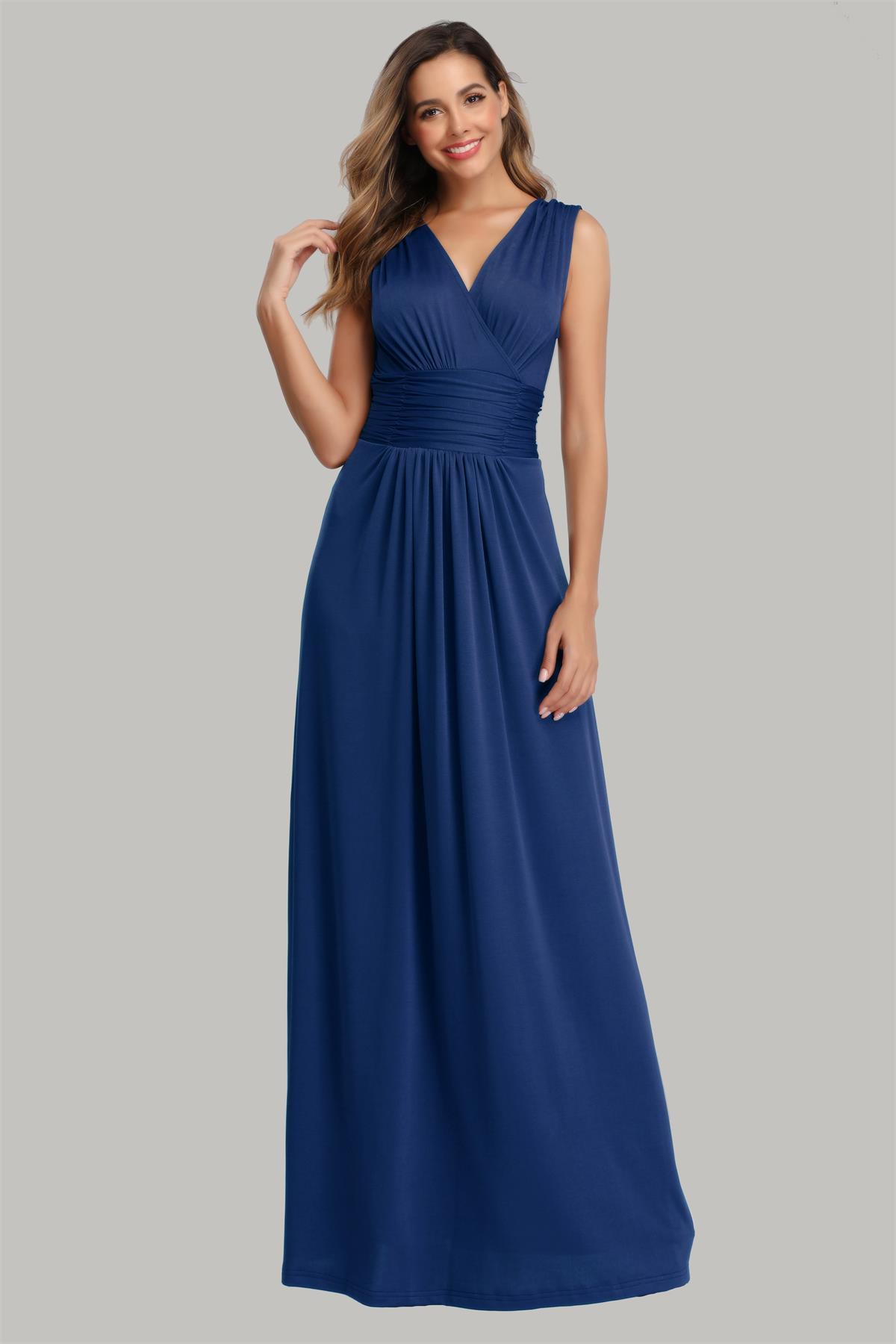 robe longue simple bleu roi cache coeur en jersey pour mère de mariée