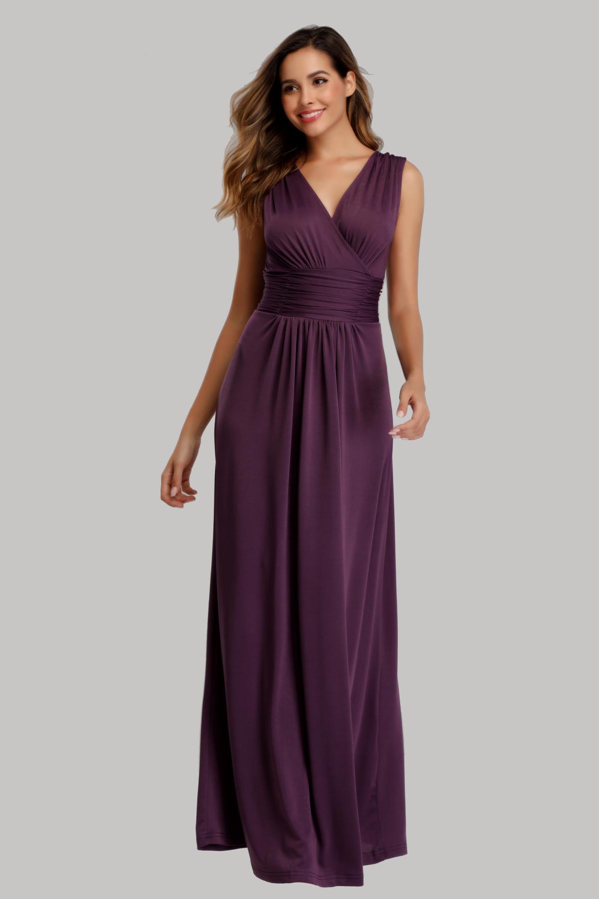 robe longue prune cache coeur pour témoin mariage en jersey