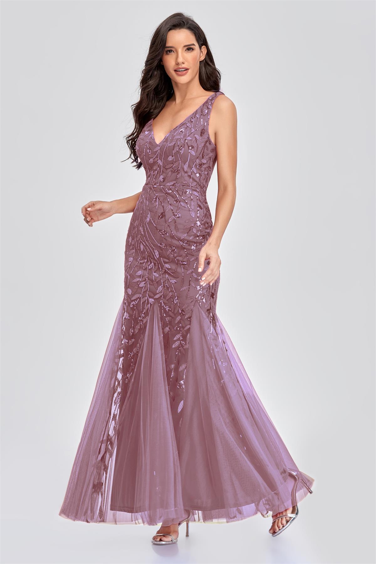 robe de soirée longue moulante rose parme à motif feuilles de paillettes