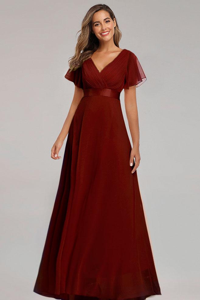 robe soirée bordeaux décolleté v avec manches évasées