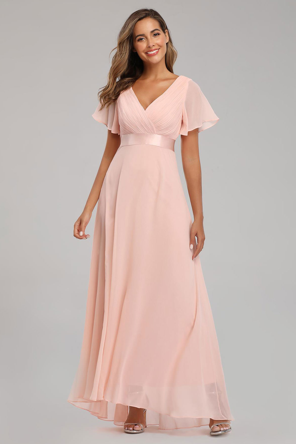 robe de soirée longue simple rose encolure v plissé manches évasées