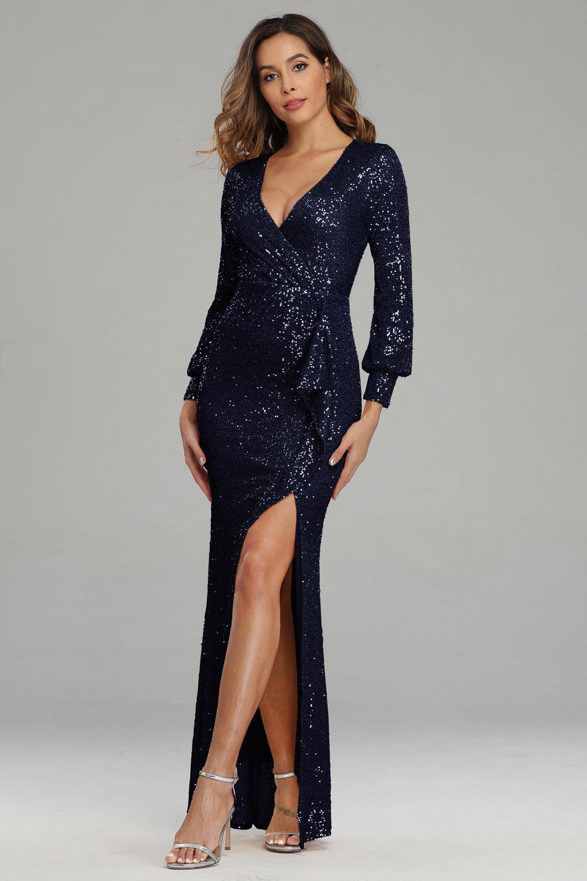 robe soirée fourreau fendue bleu nuit cache coeur avec manches
