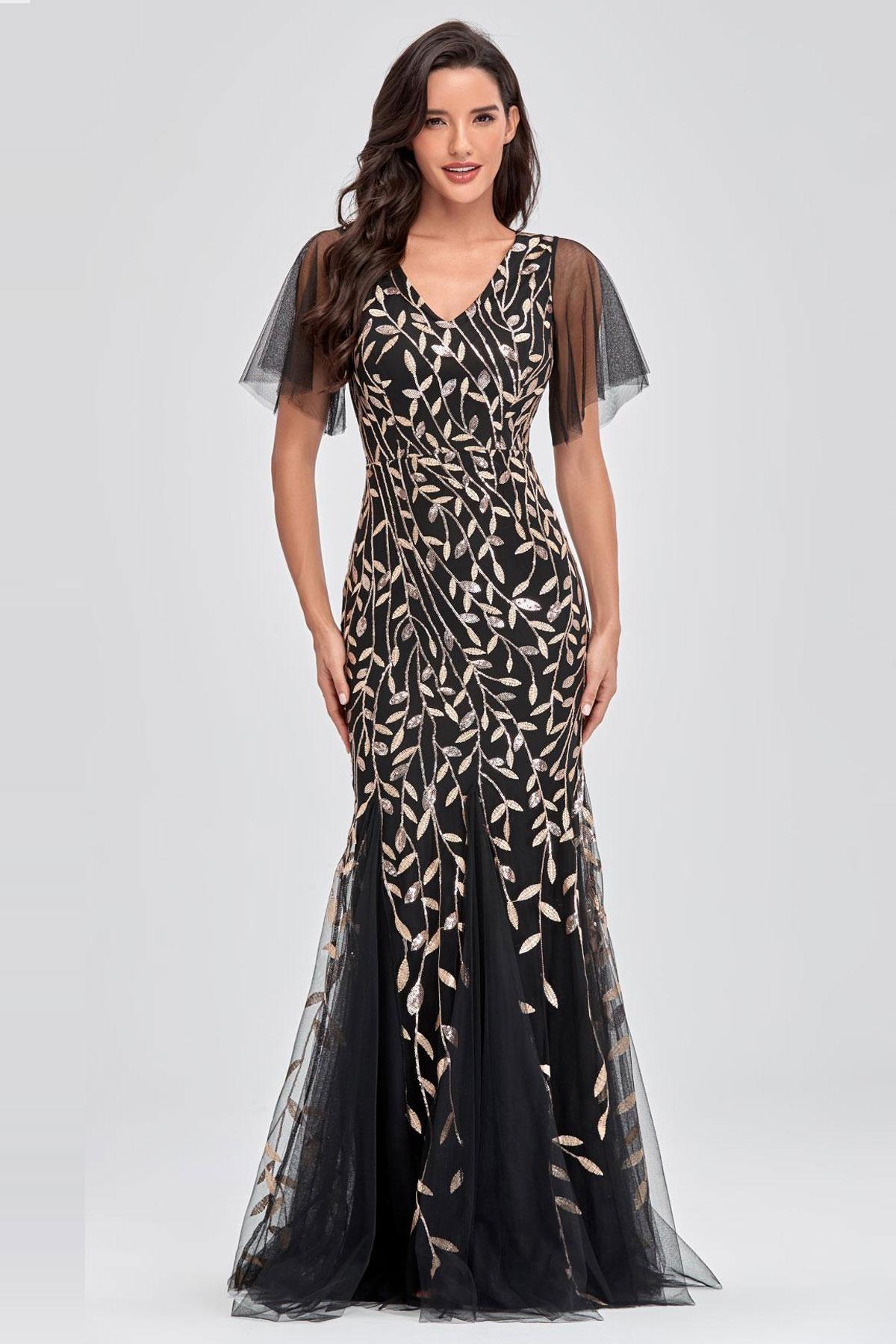 robe de soirée longue fourreau noire décolleté v brodé de feuilles à manches courtes