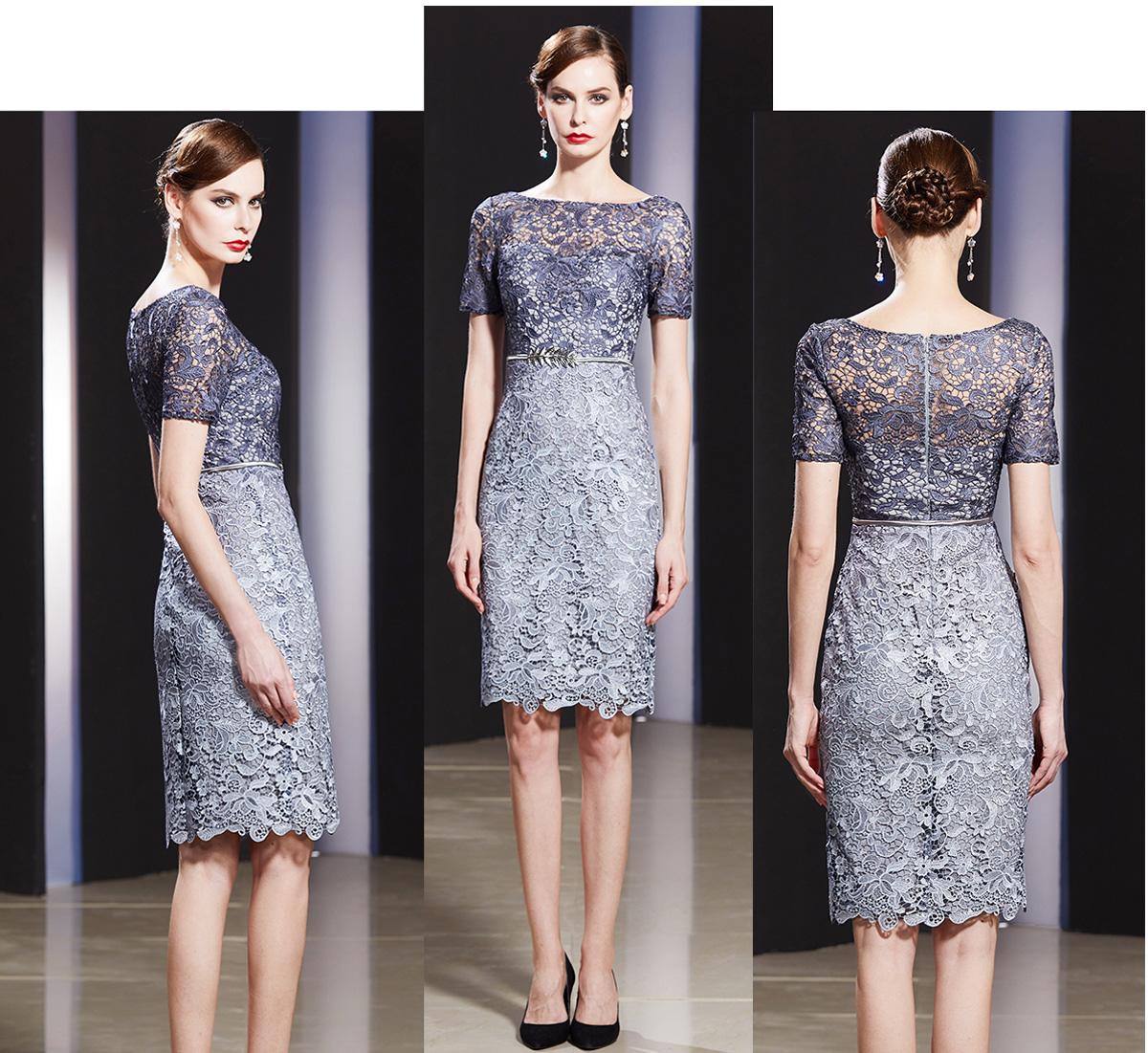 robe de soirée courte grise en dentelle appliquée guipure avec manches courte