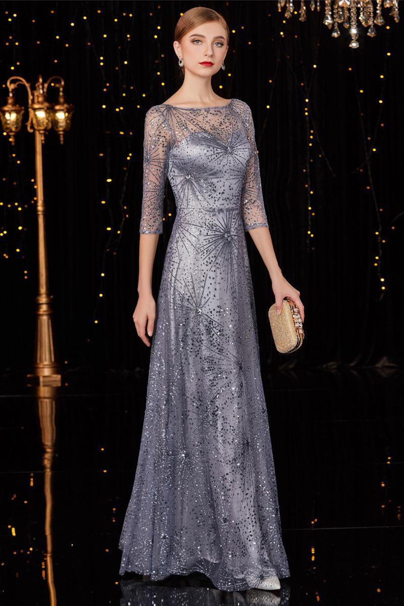 robe de soirée argenté col illusion avec manche courte embelli de sequins