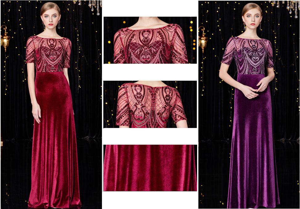robe de cérémonie bordeaux violette velours manche courte