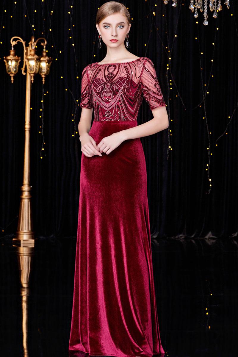 robe de soirée longue rouge en velours haut transparent ornée de strass manche courte
