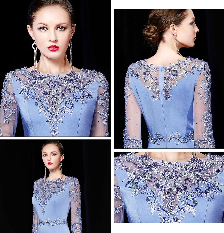 robe longue cérémonie bleu azur fourreau avec traîne bijoux de luxe