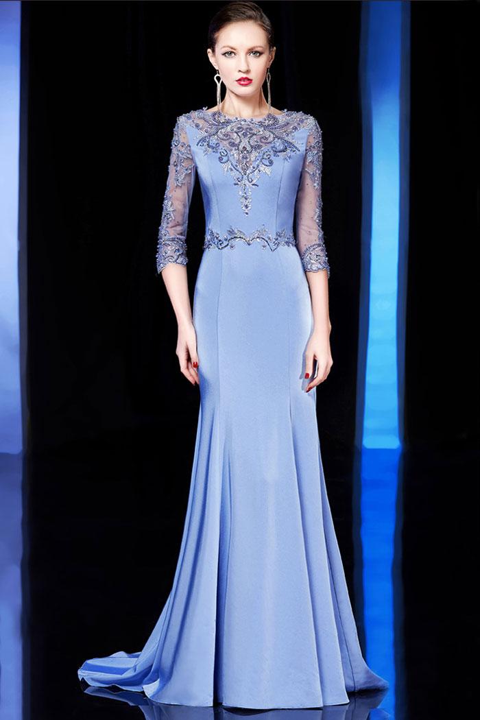 robe de soirée bleu sirène automne à manche mi-longue haut en dentelle appliquée et bijoux sublime