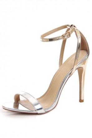 Sandales dorées à bride argentée & talon haut