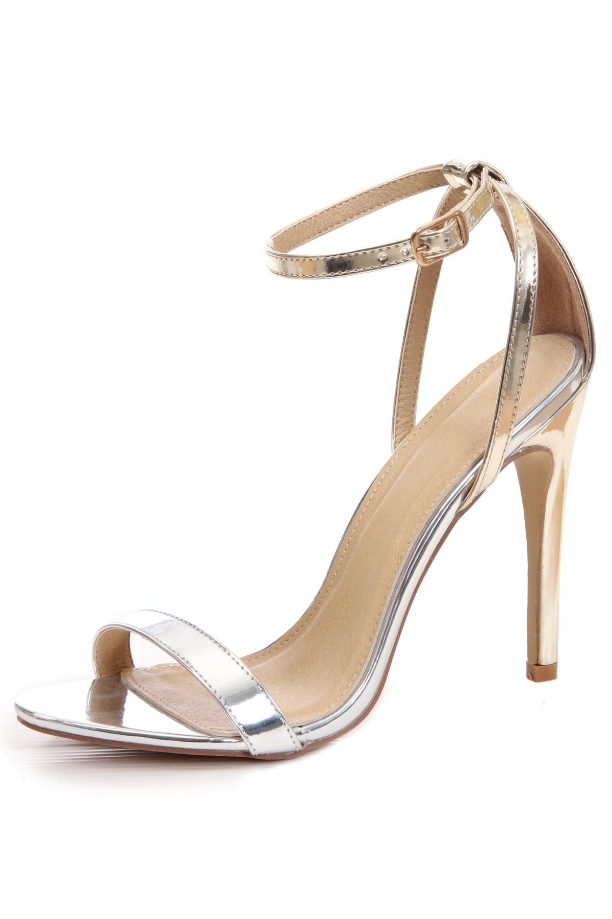 Sandales à talon haut effet bloc couleur dorées & argentée