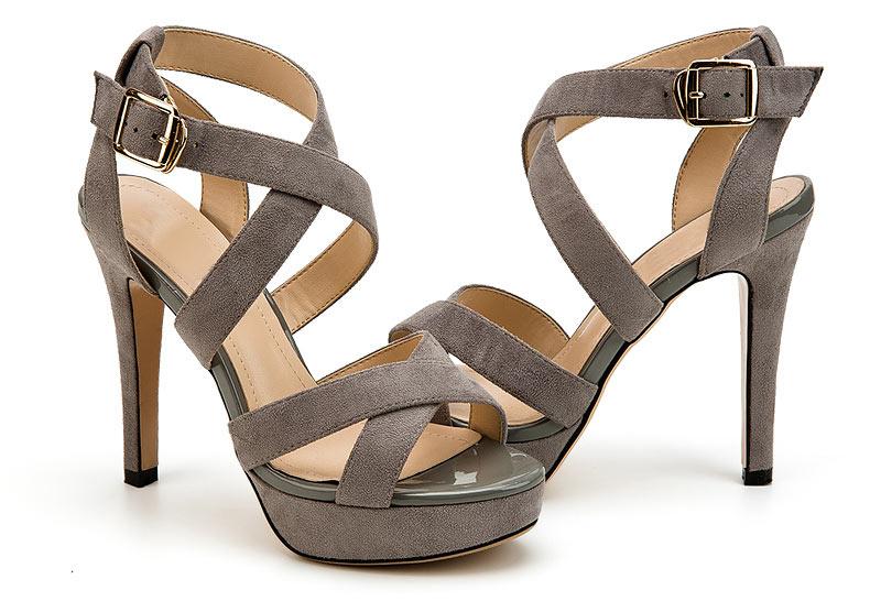 sandale talon haut grise à plateforme avec brides croisées pas cher