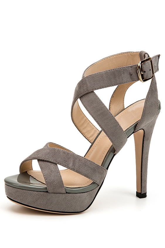 Sandales gris à brides croisées suédé