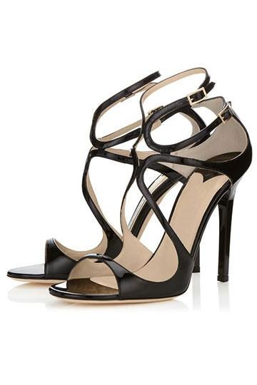 sandales noires pas cher à talon haut en cuir