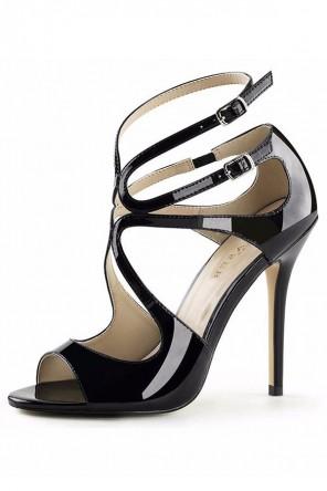 Sandales noir en cuir à talon haut