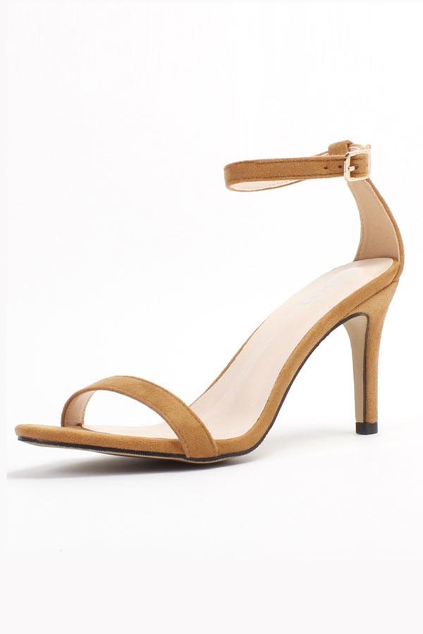 Sandale suédé à talon avec bride de cheville