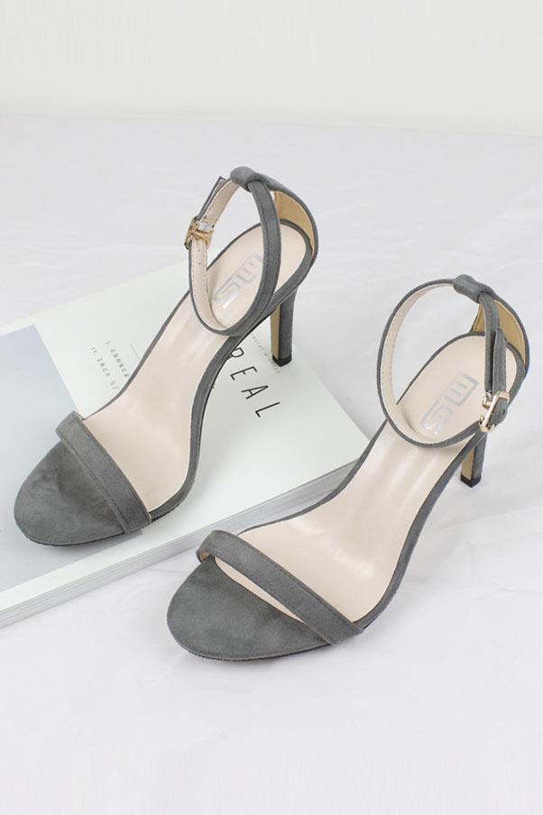 sandale simple à talon haut gris