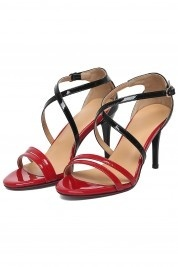 Sandales bloc couleur rouge & noir à talon haut en cuir