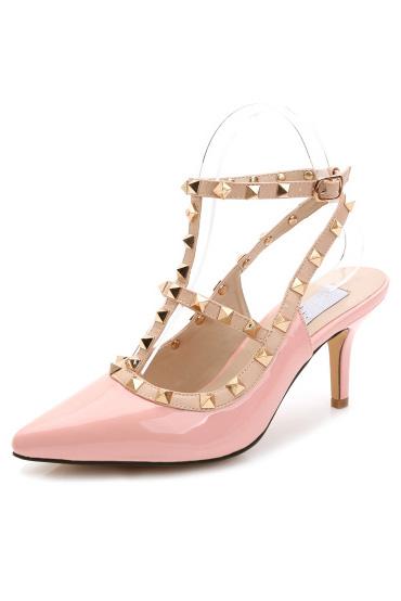 Sandale rose poudré à bout pointu ornée de rivets