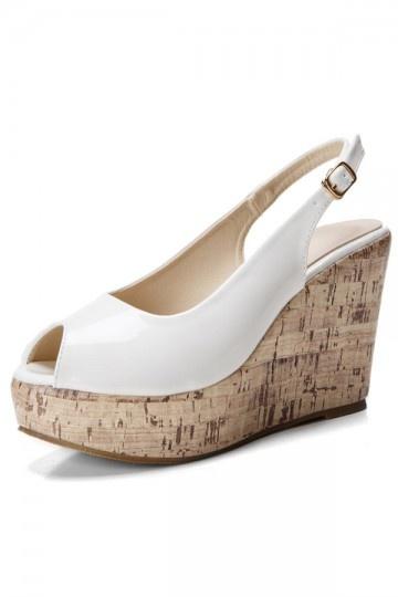 Sandale blanche compensée à bout ouvert