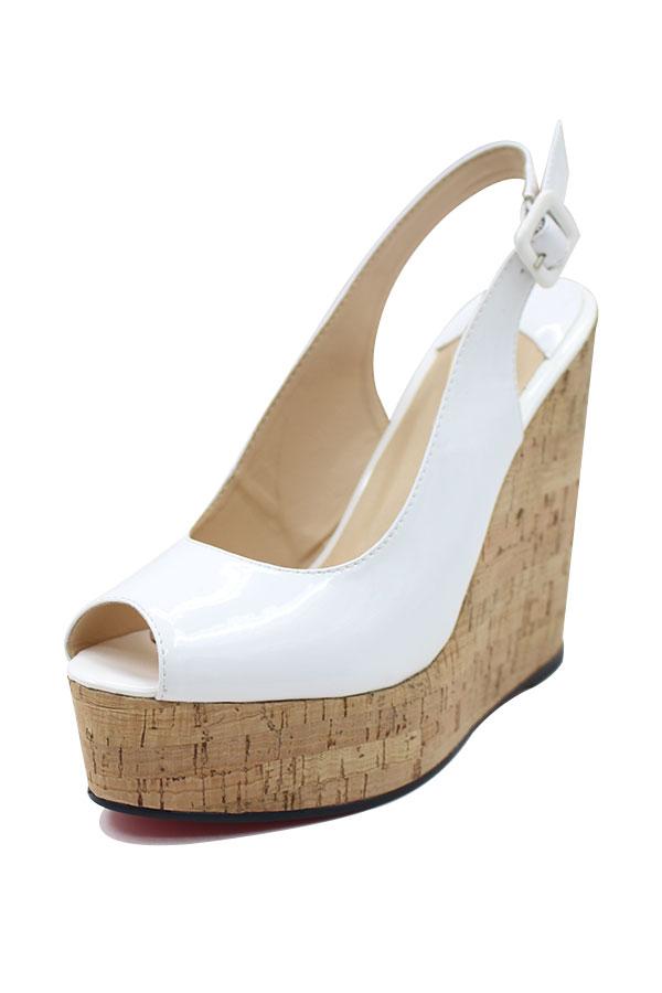 4a857b382352 Blanche sandale compensée à bout ouvert - Persun.fr