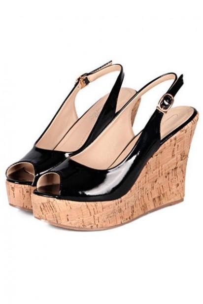 Classique sandale compensée noire à bout ouvert