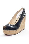 Classique sandale compensée noire