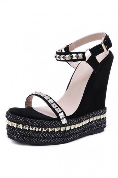 Sandale compensée noire ornée de strass