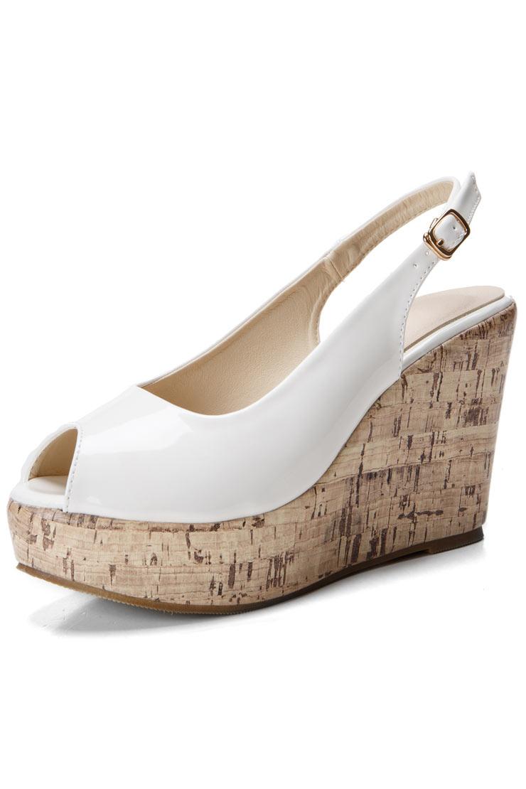 f6720b08d86a Chaussure compensée femme crème à bout ouvert - Persun.fr
