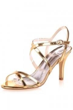 Sandales à talon dorées criss cross