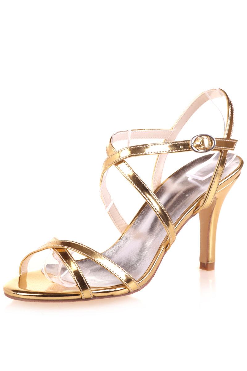 Sandales dorées à talon pointu