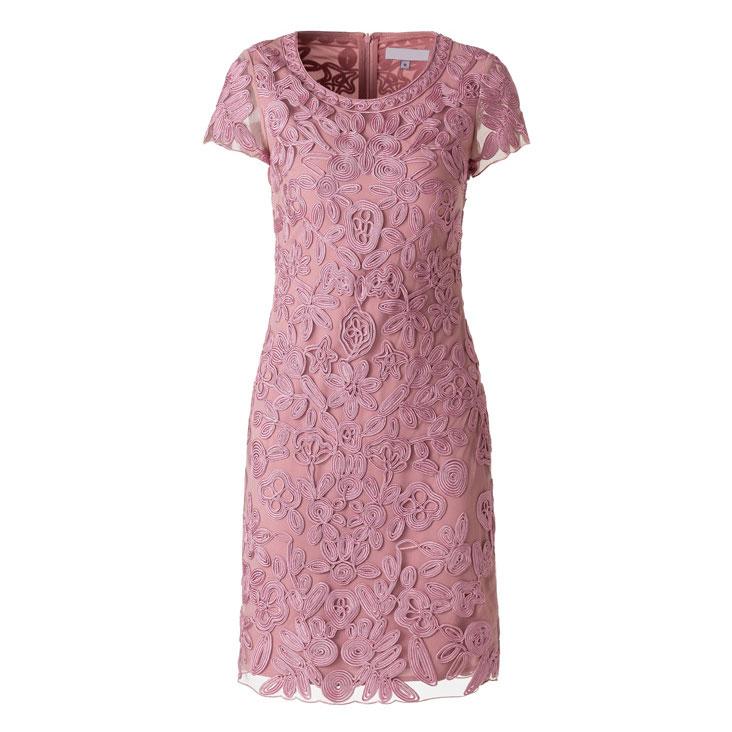 robe de cocktail courte rose en dentelle guipure florale avec manches courte transparente