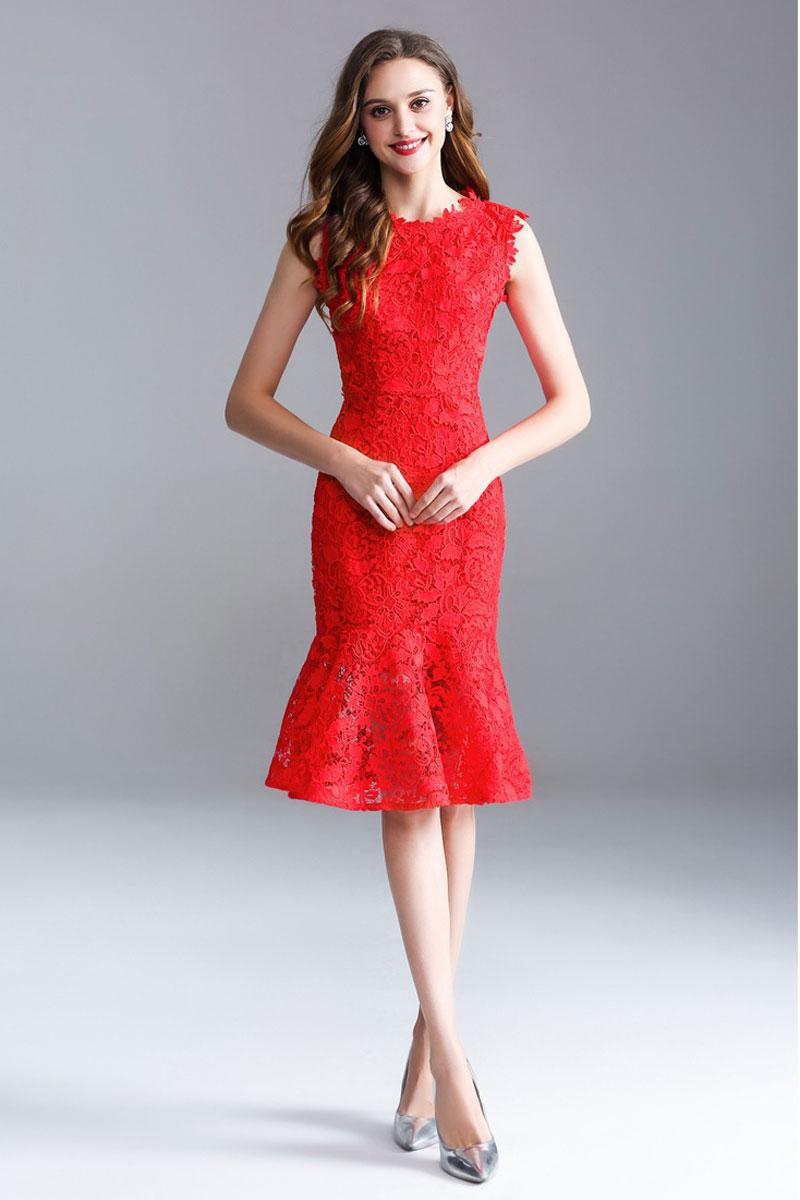 robe de soirée courte rouge sirène en dentelle guipure