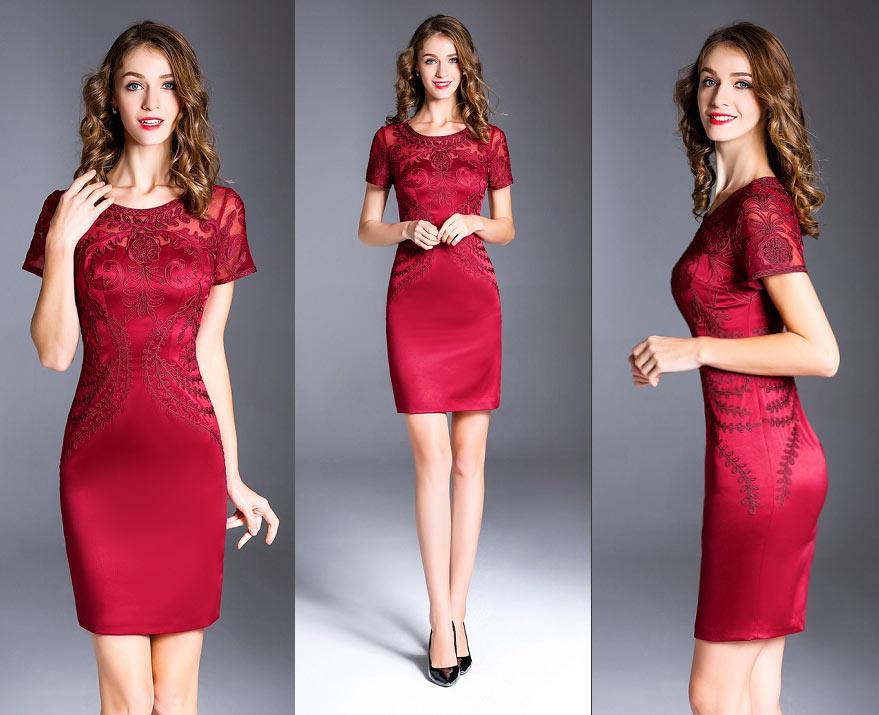 Chic robe rouge bordeaux classe dentelle avec manche pour invitée mariage