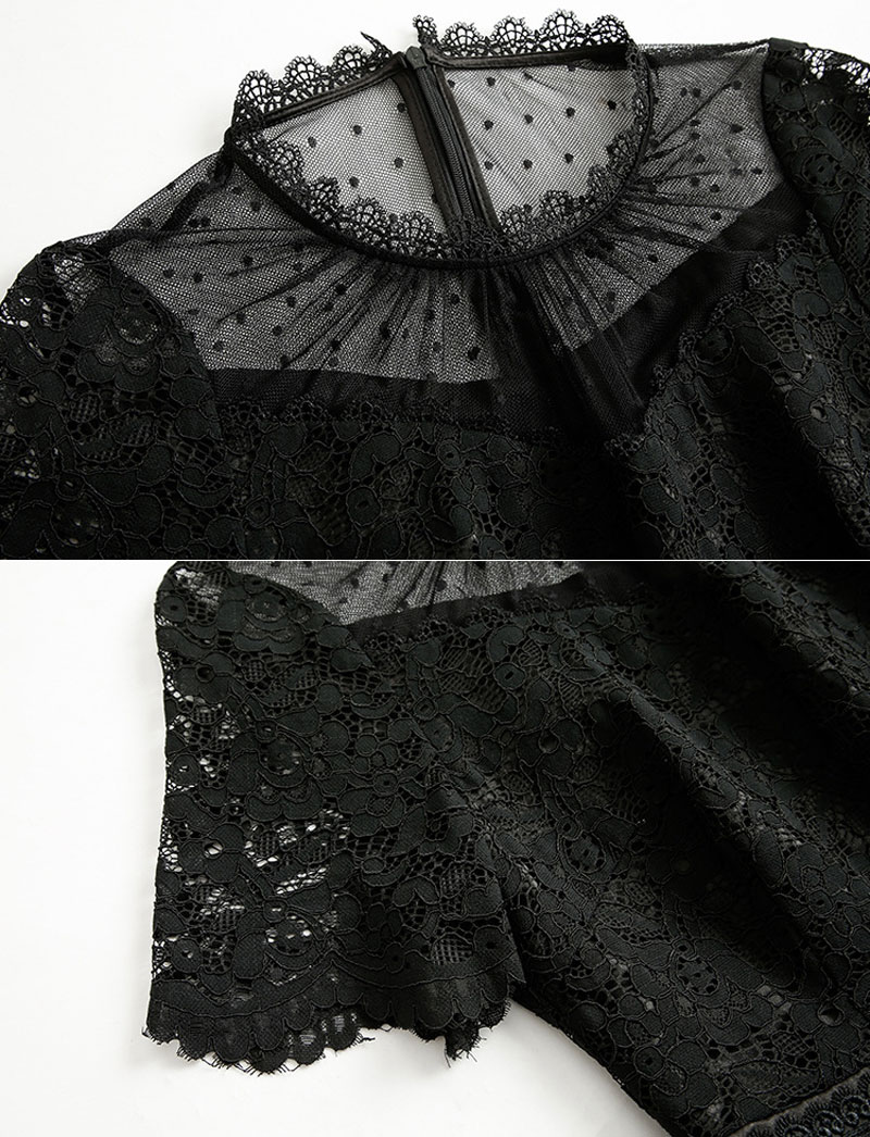 robe noire dentelle guipure plumetis