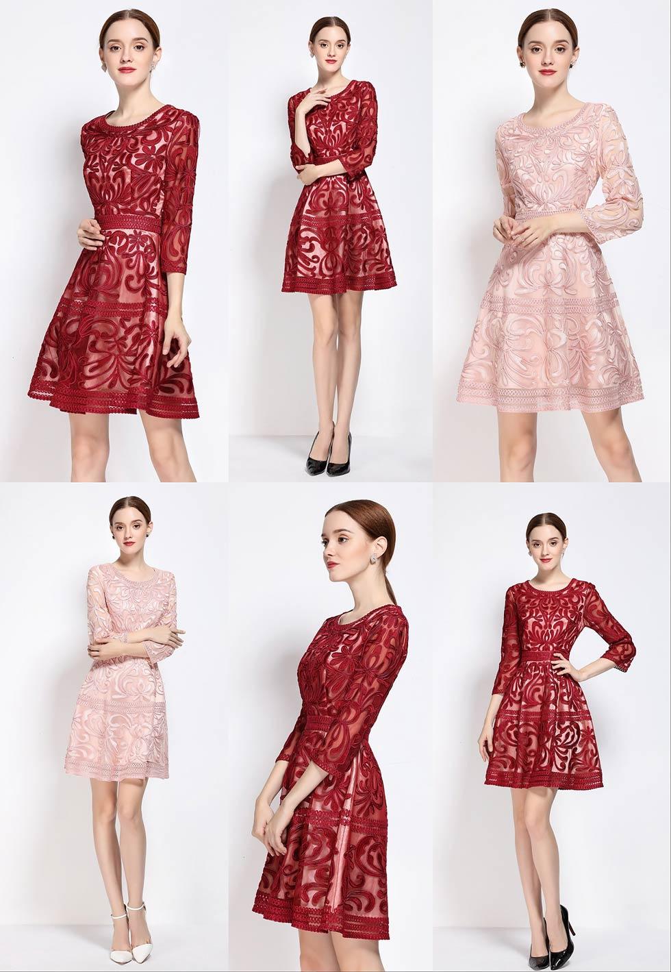 Robes chic soirée fourreau bordeaux & rose en motifs graphiques à manche