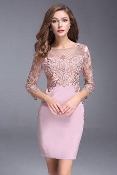 Chic robe de soirée courte fourreau rose à haut dentelle doré