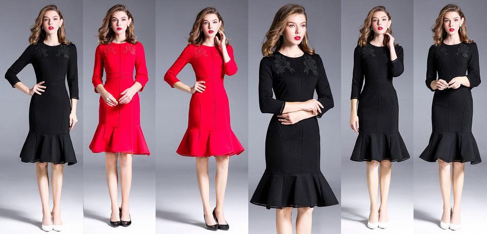 Allure robe sirène rouge & noire avec fleurs fait main pour soirée mondaine