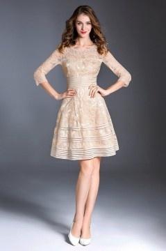 Vintage robe abricot ajourée en dentelle avec manche pour mariage