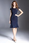 Magnifique robe bleue marine couvert de dentelle sirène pour soirée