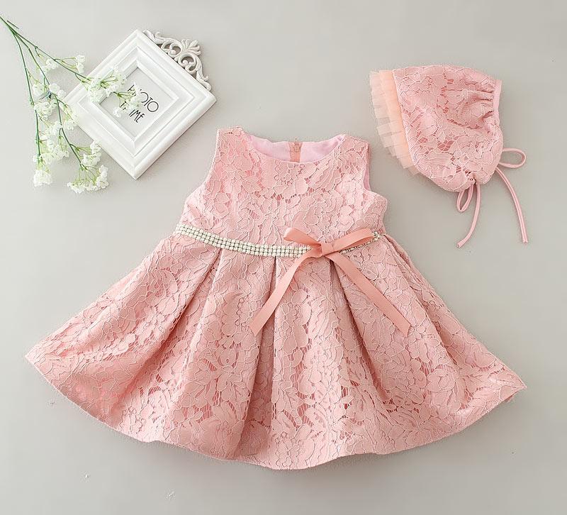 robe rose dentelle cérémonie fille pas cher avec chapeau