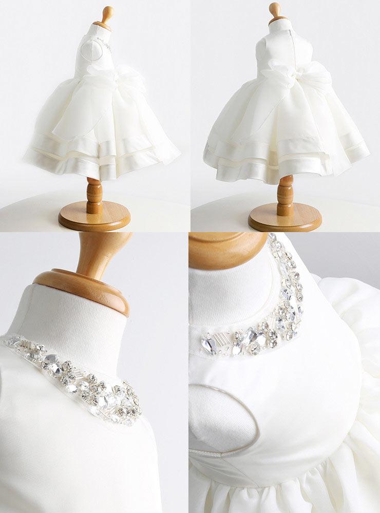 Robe communion fille col orné de paillettes