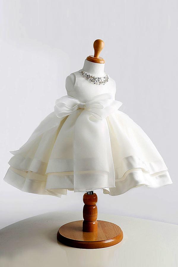 Robe baptême fille col embelli de paillettes